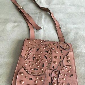 Patricia Nash Studded Dusty Rose Crossbody Bag